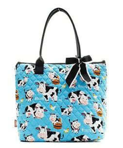 NGIL Super Cute MooMoo Cow Print Tote Bag-Monogram Included