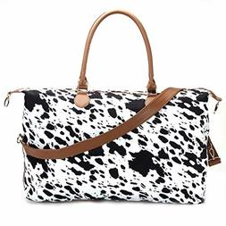 Cow Print Duffle Bag Weekender Bag For Women Travel Bag Over