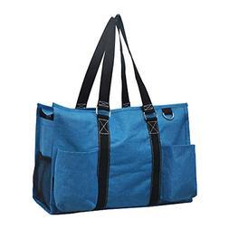 Crosshatch Turquoise NGIL Medium Canvas Tote Bag