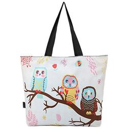 ICOLOR Cute Owls Reusable Grocery Shopping Bag Tote Eco-frie