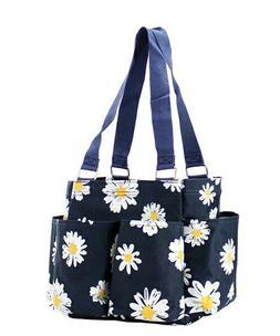 Daisy Flower NGIL Small Zippered canvas purse Caddy Organize