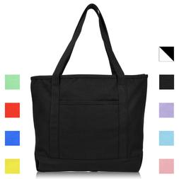 "DALIX 20"" Solid Color Cotton Canvas Shopping Tote Bag"