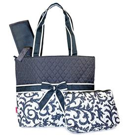 NGIL Damask Print Quilted Diaper Bag