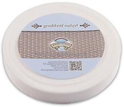 Country Brook Design 1 Inch White Lite Weight Nylon Webbing,