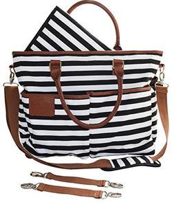 Diaper Bag for Stylish Moms, Black/White, Premium Cotton Can