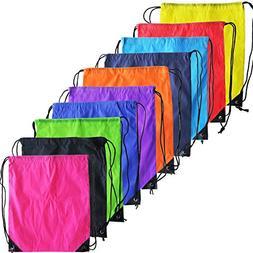 10 Colors Drawstring Backpack Bags Sack Pack Cinch Tote Kids