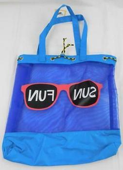 IQ Accessories Drawstring Mesh Tote Bag Blue Summer Sun Fun