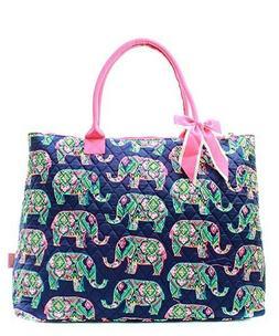 NGIL Elephant w/ Pink Trim Large Overnight Tote Bag-Monogram