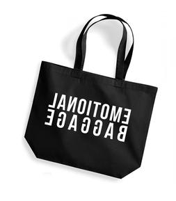 Emotional Baggage - Large Canvas Tote Bag, Gym Exercise Yoga
