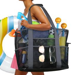 Extra Large Summer Beach Mesh Bag Shoulder Picnic Tote w/Zip