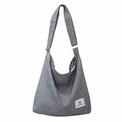 Fanspack Women's Canvas Hobo Handbags Simple Casual Top Hand