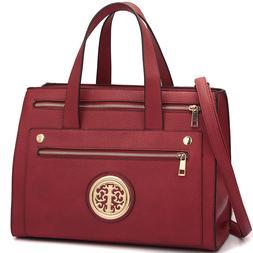 Dasein Women Handbag Faux Leather Work Satchel Tote Bag Medi