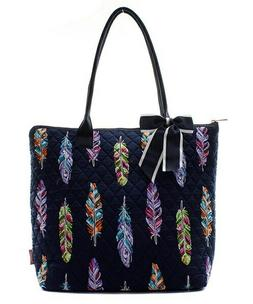 Feather Tribal Colorful NGIL® Quilted Purse Tote Bag Free S