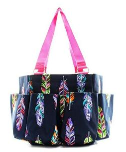 Feathers NGIL Small Zippered canvas purse Caddy Organizer To