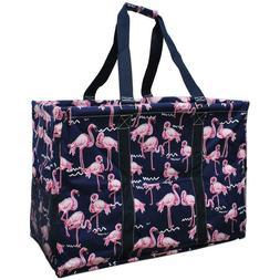 Flamingo Beach NGIL Canvas Mega  Zip Top Shopping Utility To