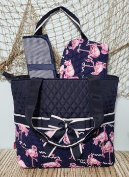 Flamingo Diaper Bag Tote Quilted Navy White Pink Flamingos C