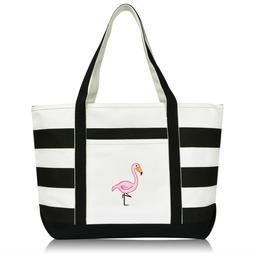 DALIX Flamingo Striped Canvas Tote Bag Premium Cotton