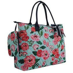 Floral Blossom Print NGIL® Quilted Purse Overnight/Large To
