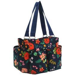 Floral Flowers NGIL Small Zippered canvas purse Caddy Organi