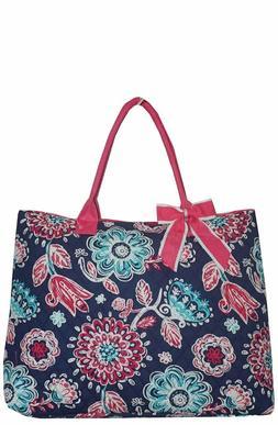 NGIL Floral Print w/Pink Trim Large Overnight Tote Bag-Monog