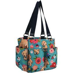 Floral Puppy Dog NGIL Small Zippered canvas purse Caddy Orga