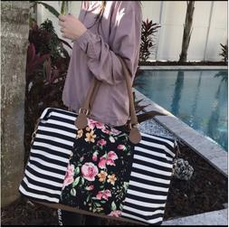 Floral Stripe Duffle Weekender Bags For Women Travel Tote Ba