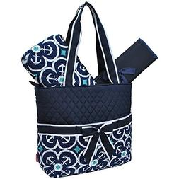 Flower Anchor Print NGIL Quilted 3pc Diaper Bag