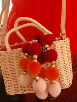 Fun-New Straw/ Wicker Small Tote/Bag With Of-the-moment Pomp