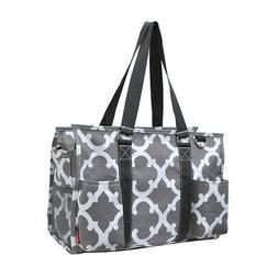 Geometric Clover Gray NGIL® Zippered Caddy Organizer Tote B