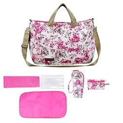 Girl Diaper Bag Tote 6 Pieces Set, Flowers Baby Bags Large C