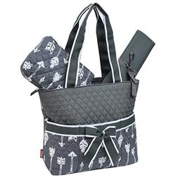Gray Arrow Print NGIL Quilted 3pc Diaper Bag
