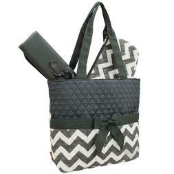 Gray Chevron NGIL Quilted 3pcs Diaper Bag-Monogram Included
