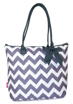 Gray Chevron Womens Ladies Quilted Tote Bag 16 inch Cotton M
