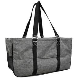 Gray Crosshatch Solid Print NGIL Utility Tote Shopping Bag