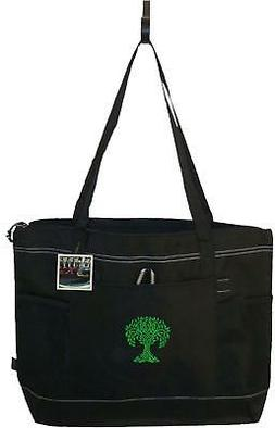 Green Celtic Tree Black Gemline Zipper Tote Bag Monogram St.