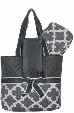 Grey Geometric NGIL Quilted 3pcs Diaper Bag-Monogram Include