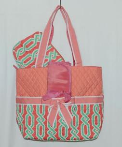NGIL GUA2121 Quilted Pink Striped Vine Print Coral Green Dia