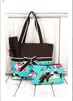 NGIL Happy Camper Diaper Bag With Changing Pad and Pouch
