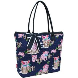 Happy Pig Town NGIL® Quilted Large Ribbon Tote Bag