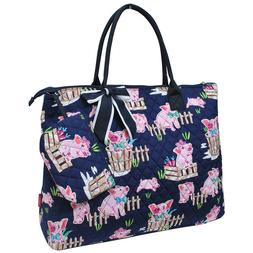 Happy Pig Town NGIL® Quilted Overnight Tote Bag