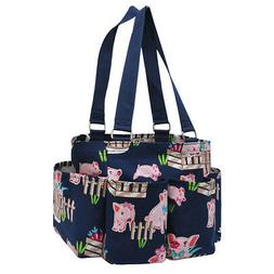 Happy Pig Town NGIL® Small Zippered Caddy Organizer Tote Ba