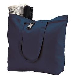 Set of 6 Heavy Canvas Large Tote Bag with Zippered Closure