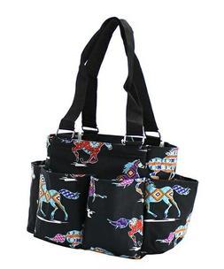 horse small zippered canvas purse caddy organizer