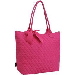 Hot Pink NGIL® Quilted Large Ribbon Tote Bag
