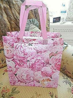 ❤️ Huge PINK PEONIES cottage chic floral Reusable Shoppi