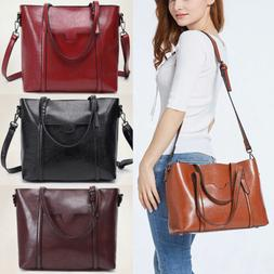 In Lady Oil Wax Leather Tote Purse Messenger Crossbody Bag H