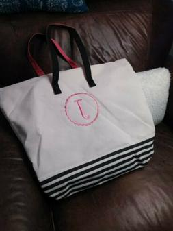 Initial Canvas Tote bag J canvas cream black pink NEW