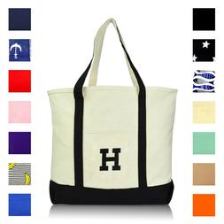 DALIX Initial Tote Bag Personalized Monogram Zippered Top Le