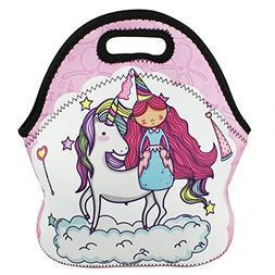Insulated Neoprene Lunch Bag Tote Violet Mist Unicorn Cartoo