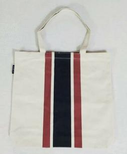 J.Crew Canvas Tote Bag Shopper Carryall Burgundy Navy Natura